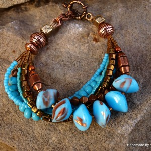 Turquoise Blue Bracelet with Copper